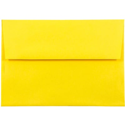 JAM Paper® A8 Invitation Envelopes, 5.5 x 8.125, Brite Hue Yellow Recycled, 250/box (96334H)