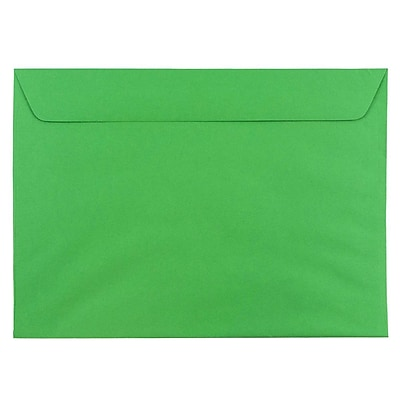 JAM Paper® 9 x 12 Booklet Envelopes, Brite Hue Christmas Green Recycled, 25/pack (154124)