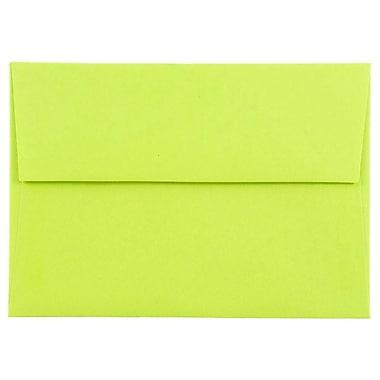 JAM Paper® 4bar A1 Envelopes, 3 5/8 x 5 1/8, Brite Hue Ultra Lime Green, 25/pack (155438)