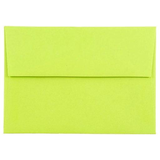 JAM Paper® 4Bar A1 Colored Invitation Envelopes, 3.625 x 5.125, Ultra Lime Green, 50/Pack (155438I)