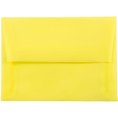 JAM Paper® A6 Invitation Envelopes, 4.75 x 6.5, Yellow Translucent Vellum, 25/pack (1591712)