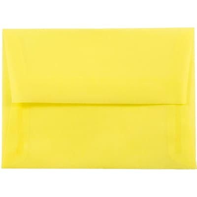 JAM Paper® A6 Invitation Envelopes, 4.75 x 6.5, Yellow Translucent Vellum, 250/box (1591712H)