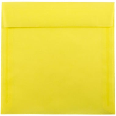 JAM Paper® 8 x 8 Square Envelopes, Yellow Translucent Vellum, 25/pack (1592128)