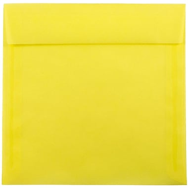 JAM Paper® 8.5 x 8.5 Square Envelopes, Yellow Translucent Vellum, 25/pack (1592162)