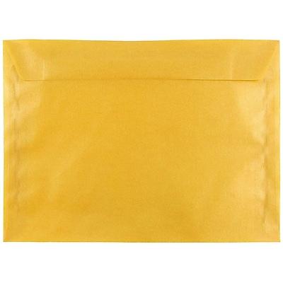 JAM Paper® 9 x 12 Booklet Envelopes, Translucent Vellum Gold, 25/pack (1592176)