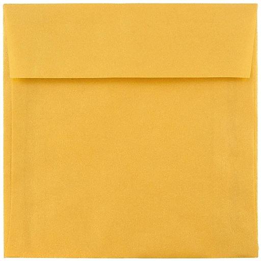 JAM Paper® 8.5 x 8.5 Square Translucent Vellum Invitation Envelopes, Gold, 50/Pack (PACV597I)