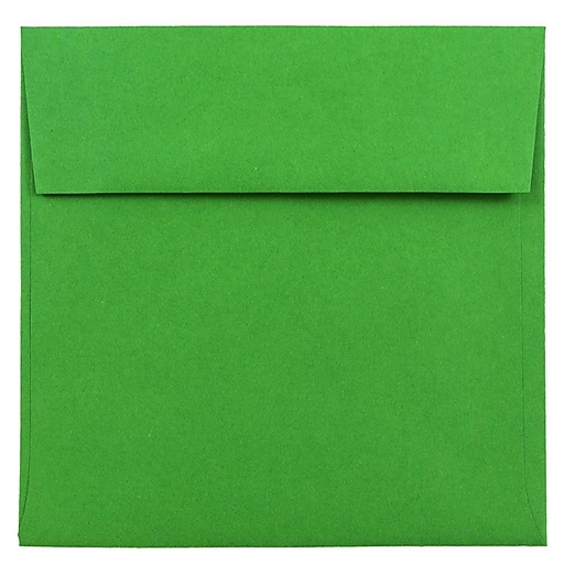 JAM Paper® 6 x 6 Square Colored Invitation Envelopes, Green Recycled, 50/Pack (2792267I)