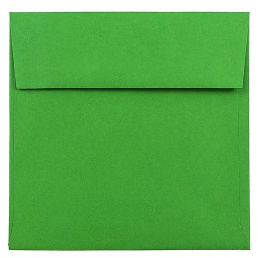JAM Paper® 6 x 6 Square Colored Invitation Envelopes, Green Recycled, Bulk 250/Box (2792267H)