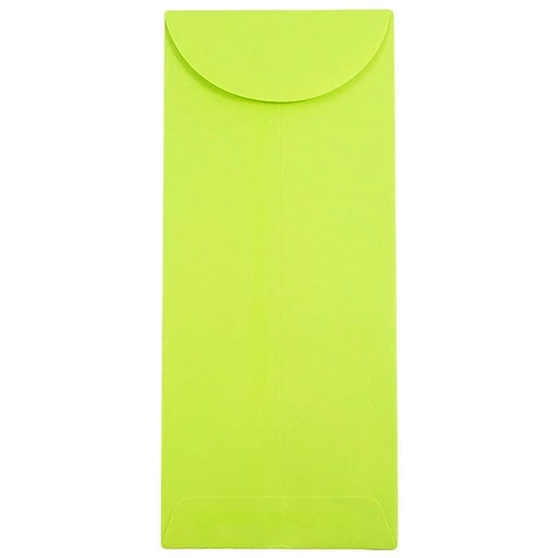 JAM Paper® #11 Policy Business Colored Envelopes, 4.5 x 10.375, Ultra Lime Green, 50/Pack (3156392I)