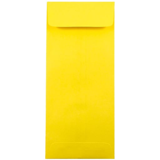 JAM Paper® #10 Policy Business Colored Envelopes, 4.125 x 9.5, Yellow Recycled, Bulk 1000/Carton (15877B)