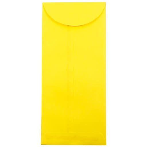 JAM Paper® #14 Policy Business Colored Envelopes, 5 x 11.5, Yellow Recycled, Bulk 500/Box (3156404H)