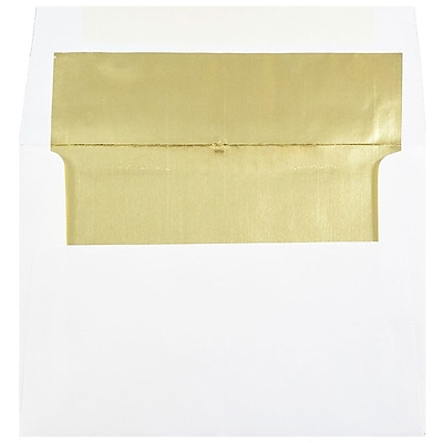 JAM Paper® A7 Foil Lined Envelopes, 5.25 x 7.25, White with Gold Lining, 50/pack (3243663I)