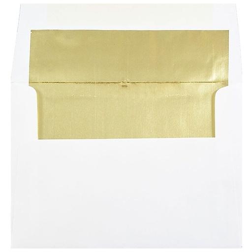 JAM Paper® A7 Foil Lined Invitation Envelopes, 5.25 x 7.25, White with Gold Foil, 50/Pack (3243663I)