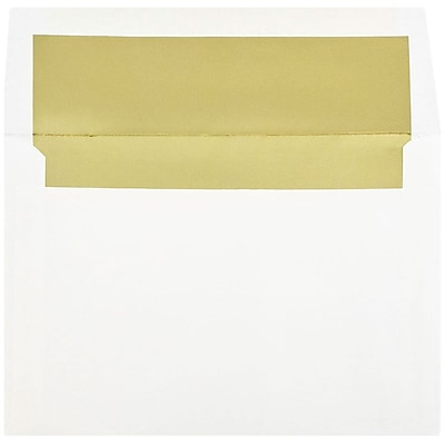 JAM Paper® A8 Foil Lined Envelopes, 5.5 x 8.125, White with Gold Lining, 250/box (3243664H)