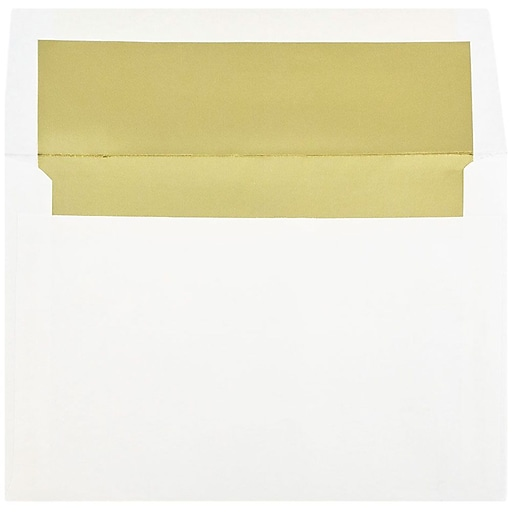 JAM Paper® A8 Foil Lined Invitation Envelopes, 5.5 x 8.125, White with Gold Foil, Bulk 250/Box (3243664H)