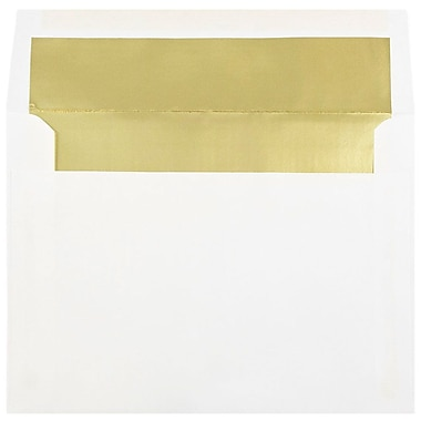 JAM Paper® 6 x 8 Foil Lined Booklet Envelopes, White with Gold Lining, 100/Pack (3243667g)