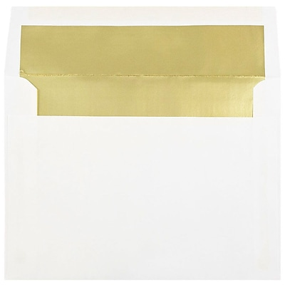 JAM Paper® 6 x 8 Foil Lined Booklet Envelopes, White with Gold Lining, 25/pack (3243667)