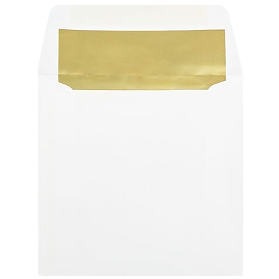 JAM Paper® 6 x 6 Square Foil Lined Envelopes, White with Gold Lining, 25/pack (3244689)