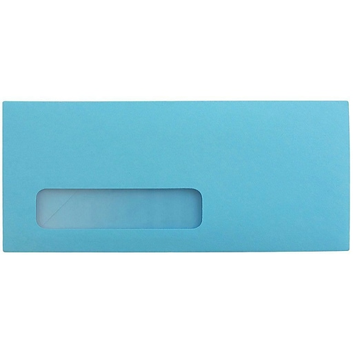 JAM Paper® #10 Business Colored Window Envelopes, 4.125 x 9.5, Blue Recycled, Bulk 1000/Carton (5156476B)