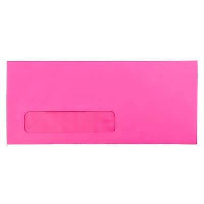 JAM Paper® #10 Window Envelopes, 4 1/8 x 9 1/2, Brite Hue Ultra Fuchsia Pink, 500/box (5156479H)