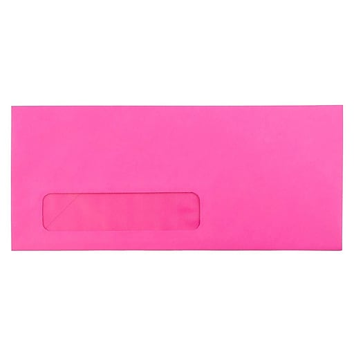 JAM Paper® #10 Business Window Envelopes, 4.125 x 9.5, Ultra Fuchsia Pink, Bulk 500/Box (5156479H)