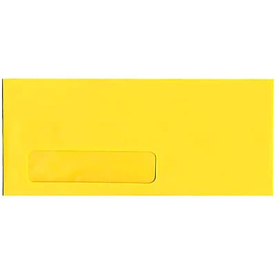 JAM Paper® #10 Window Envelopes, 4 1/8 x 9 1/2, Brite Hue Yellow Recycled, 500/box (5156482H)