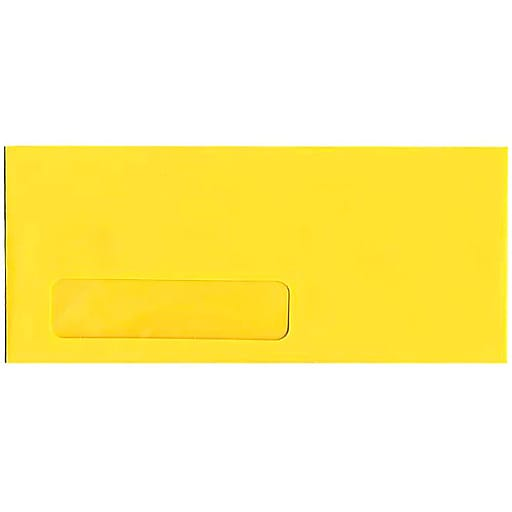 JAM Paper® #10 Business Window Envelopes, 4.125 x 9.5, Yellow Recycled, Bulk 500/Box (5156482H)