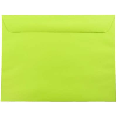 JAM Paper® 9 x 12 Booklet Envelopes, Brite Hue Ultra Lime Green, 25/pack (5156771)