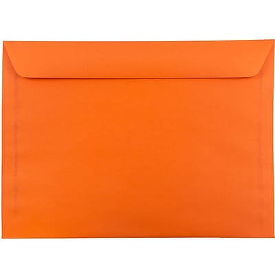 JAM Paper® 9 x 12 Booklet Envelopes, Brite Hue Orange Recycled, 1000/carton (5156772B)