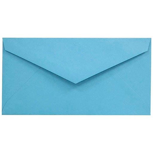 JAM Paper® Monarch Colored Envelopes, 3.875 x 7.5, Blue Recycled, Bulk 500/Box (34097574H)