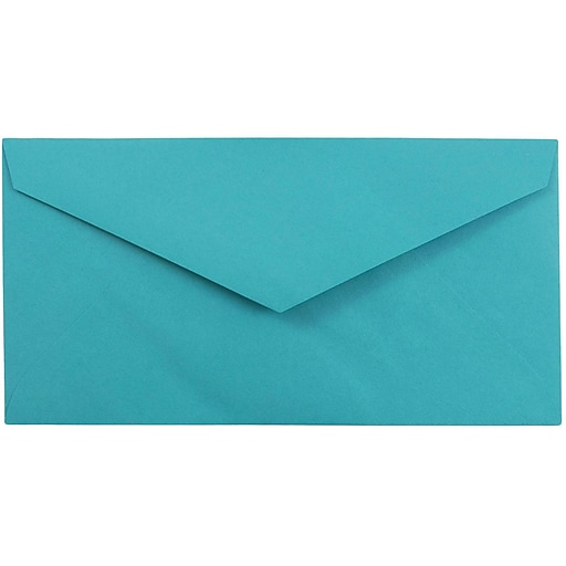 JAM Paper® Monarch Colored Envelopes, 3.875 x 7.5, Sea Blue Recycled, 50/Pack (34097576I)