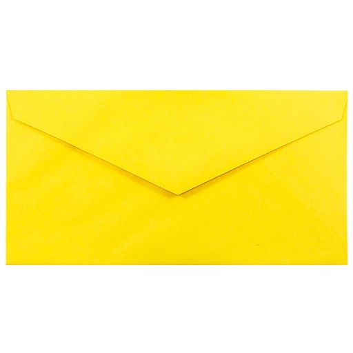 JAM Paper® Monarch Colored Envelopes, 3.875 x 7.5, Yellow Recycled, Bulk 500/Box (34097577H)