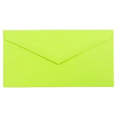 JAM Paper® Monarch Envelopes, 3 7/8 x 7 1/2, Brite Hue Ultra Lime, 1000/carton (34097579B)