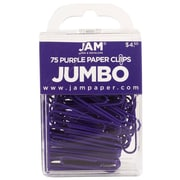 JAM Paper® Colored Jumbo Paper Clips, Large, Purple Paperclips, 75/pack (42186879)