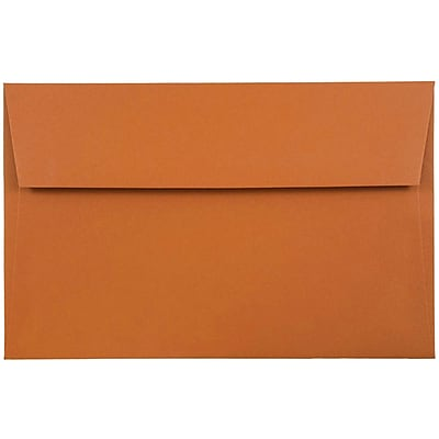 JAM Paper® A9 Invitation Envelopes, 5.75 x 8.75, Dark Orange, 50/pack (61511364I)