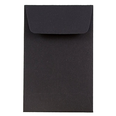 JAM Paper® #1 Coin Envelopes, 2.25 x 3.5, Black, 500/Pack