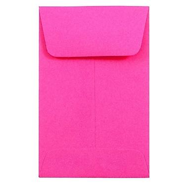 JAM PaperMD – Enveloppes à monnaie nº 1, 2,25 x 3,5 po, rose boule de feu, 50/paquet