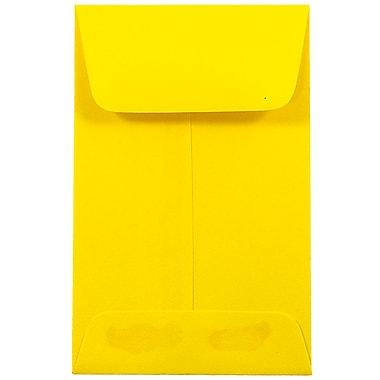 JAM PaperMD – Enveloppes à monnaie no 1, 2,25 x 3,5 po, jaune recyclé Brite Hue, 500/paquet