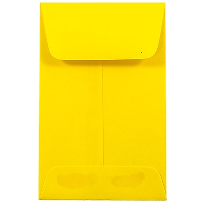 JAM Paper® #1 Coin Envelopes, 2.25 x 3.5, Brite Hue Yellow Recycled, 500/box (353127843H)