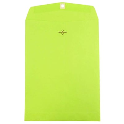 JAM Paper® 9 x 12 Open End Catalog Envelopes with Clasp Closure, Brite Hue Ultra Lime Green, 10/pack (900835395B)