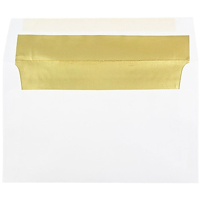 JAM Paper® A10 Foil Lined Envelopes, 6 x 9.5, White with Gold Lining, 250/box (900905660H)