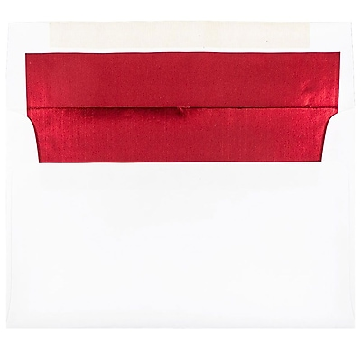 JAM Paper® A10 Foil Lined Envelopes, 6 x 9.5, White with Red Lining, 250/box (900905662H)
