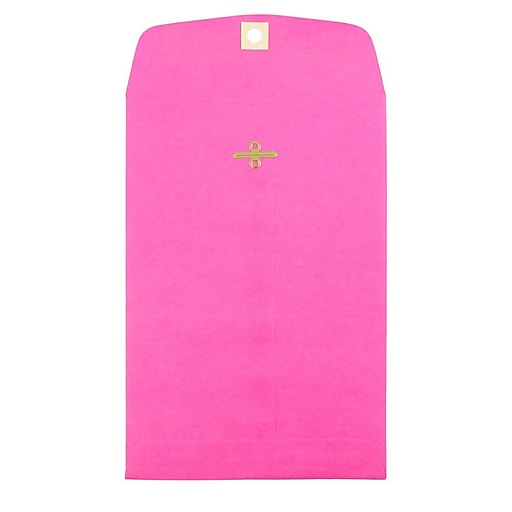 JAM Paper® 6 x 9 Open End Catalog Colored Envelopes with Clasp Closure, Ultra Fuchsia Pink, 100/Pack (900909024)