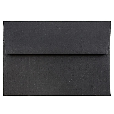 JAM Paper® 4bar A1 Envelopes, 3 5/8 x 5 1/8, Black Linen Recycled , 50/pack (900919196I)
