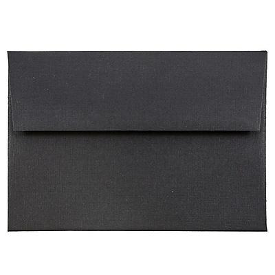 JAM Paper® 4bar A1 Envelopes, 3 5/8 x 5 1/8, Black Linen Recycled , 50/pack (900919196I)