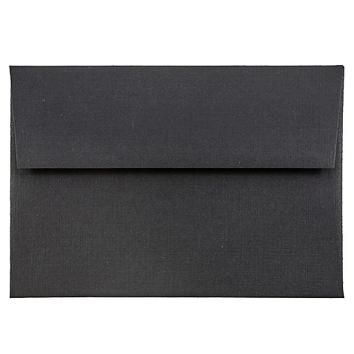 JAM Paper® 4Bar A1 Invitation Envelopes, 3.625 x 5.125, Black Linen, 50/Pack (900919196I)