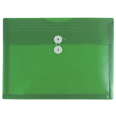JAM Paper® Plastic Envelopes with Button and String Tie Closure, Letter Booklet, 9.75 x 13, Green Poly, 12/pack (218B1GR)