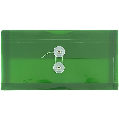 JAM Paper® #10 Plastic Envelopes with Button and String Tie Closure, 5 1/4 x 10, Green Poly, 12/pack (921B1GR)