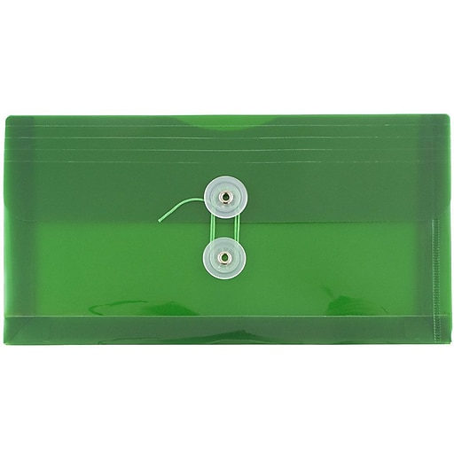 JAM Paper® Plastic Envelopes with Button and String Tie Closure, #10 Business Booklet, 5.25 x 10, Green, 12/Pack (921B1GR)