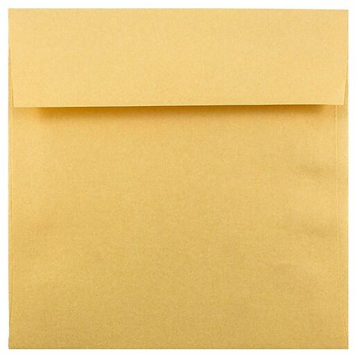 JAM Paper® 6.5 x 6.5 Square Metallic Invitation Envelopes, Stardream Gold, 25/Pack (GCST508)